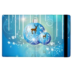 Wonderful Christmas Ball With Reindeer And Snowflakes Apple iPad 2 Flip Case