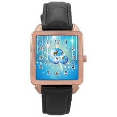 Wonderful Christmas Ball With Reindeer And Snowflakes Rose Gold Watches