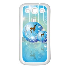 Wonderful Christmas Ball With Reindeer And Snowflakes Samsung Galaxy S3 Back Case (White)