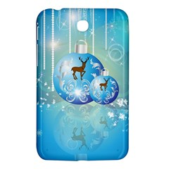 Wonderful Christmas Ball With Reindeer And Snowflakes Samsung Galaxy Tab 3 (7 ) P3200 Hardshell Case