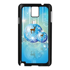 Wonderful Christmas Ball With Reindeer And Snowflakes Samsung Galaxy Note 3 N9005 Case (Black)