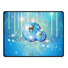 Wonderful Christmas Ball With Reindeer And Snowflakes Double Sided Fleece Blanket (small)