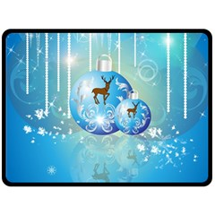 Wonderful Christmas Ball With Reindeer And Snowflakes Double Sided Fleece Blanket (large)