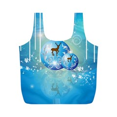 Wonderful Christmas Ball With Reindeer And Snowflakes Full Print Recycle Bags (M)