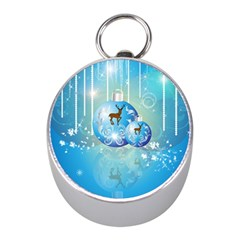 Wonderful Christmas Ball With Reindeer And Snowflakes Mini Silver Compasses