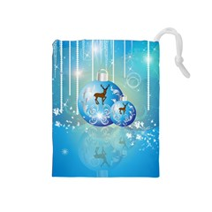 Wonderful Christmas Ball With Reindeer And Snowflakes Drawstring Pouches (Medium)