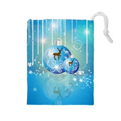 Wonderful Christmas Ball With Reindeer And Snowflakes Drawstring Pouches (Large)
