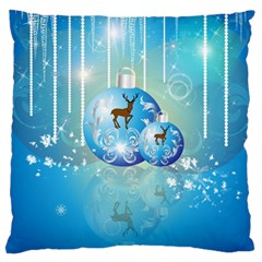 Wonderful Christmas Ball With Reindeer And Snowflakes Standard Flano Cushion Cases (two Sides)