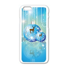 Wonderful Christmas Ball With Reindeer And Snowflakes Apple iPhone 6/6S White Enamel Case