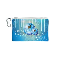 Wonderful Christmas Ball With Reindeer And Snowflakes Canvas Cosmetic Bag (S)