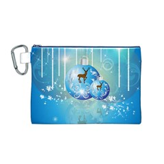 Wonderful Christmas Ball With Reindeer And Snowflakes Canvas Cosmetic Bag (M)