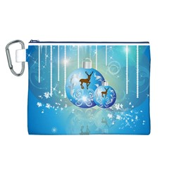 Wonderful Christmas Ball With Reindeer And Snowflakes Canvas Cosmetic Bag (L)