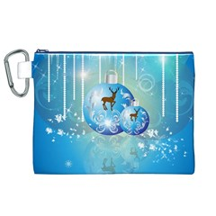 Wonderful Christmas Ball With Reindeer And Snowflakes Canvas Cosmetic Bag (XL)