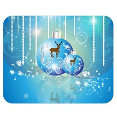 Wonderful Christmas Ball With Reindeer And Snowflakes Double Sided Flano Blanket (Medium)