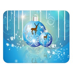 Wonderful Christmas Ball With Reindeer And Snowflakes Double Sided Flano Blanket (large)