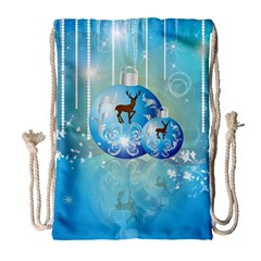 Wonderful Christmas Ball With Reindeer And Snowflakes Drawstring Bag (Large)