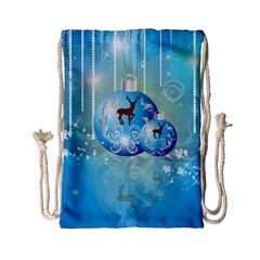 Wonderful Christmas Ball With Reindeer And Snowflakes Drawstring Bag (small)
