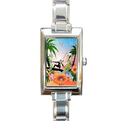 Tropical Design With Surfboarder Rectangle Italian Charm Watches