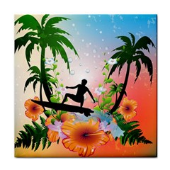 Tropical Design With Surfboarder Tile Coasters