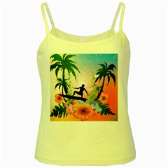 Tropical Design With Surfboarder Yellow Spaghetti Tanks