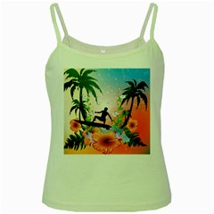 Tropical Design With Surfboarder Green Spaghetti Tanks