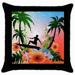 Tropical Design With Surfboarder Throw Pillow Cases (Black)