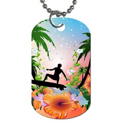 Tropical Design With Surfboarder Dog Tag (One Side)