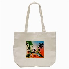 Tropical Design With Surfboarder Tote Bag (Cream)