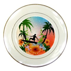 Tropical Design With Surfboarder Porcelain Plates