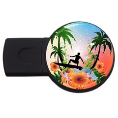 Tropical Design With Surfboarder USB Flash Drive Round (4 GB)