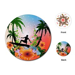 Tropical Design With Surfboarder Playing Cards (Round)