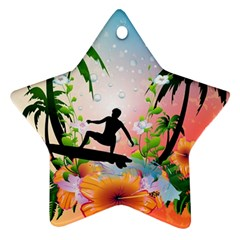 Tropical Design With Surfboarder Star Ornament (two Sides)