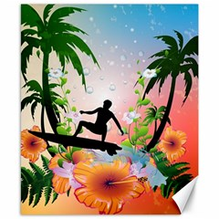 Tropical Design With Surfboarder Canvas 8  x 10