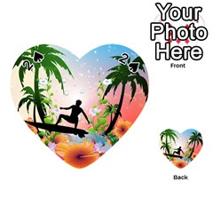 Tropical Design With Surfboarder Playing Cards 54 (Heart)