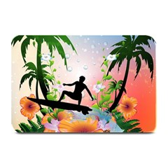 Tropical Design With Surfboarder Plate Mats