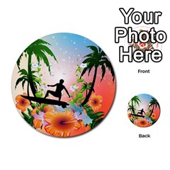 Tropical Design With Surfboarder Multi Purpose Cards (round)