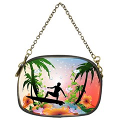 Tropical Design With Surfboarder Chain Purses (Two Sides)