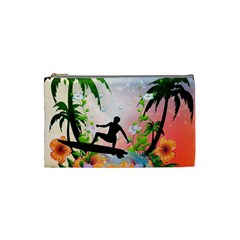 Tropical Design With Surfboarder Cosmetic Bag (Small)