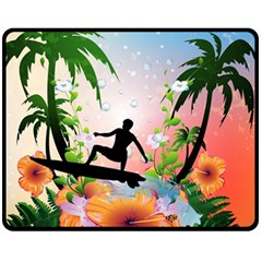Tropical Design With Surfboarder Fleece Blanket (Medium)