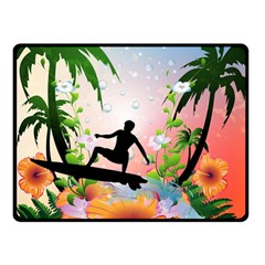 Tropical Design With Surfboarder Fleece Blanket (Small)