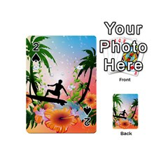 Tropical Design With Surfboarder Playing Cards 54 (Mini)