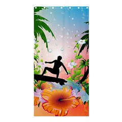 Tropical Design With Surfboarder Shower Curtain 36  x 72  (Stall)