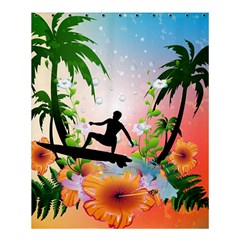 Tropical Design With Surfboarder Shower Curtain 60  x 72  (Medium)