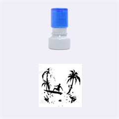 Tropical Design With Surfboarder Rubber Round Stamps (Small)