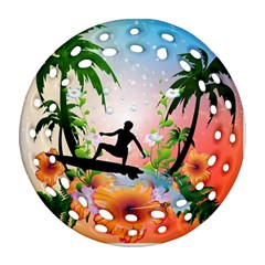 Tropical Design With Surfboarder Round Filigree Ornament (2Side)