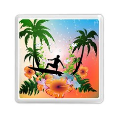 Tropical Design With Surfboarder Memory Card Reader (square)