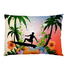 Tropical Design With Surfboarder Pillow Cases (Two Sides)