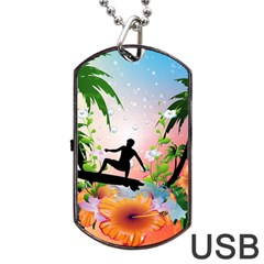Tropical Design With Surfboarder Dog Tag USB Flash (Two Sides)