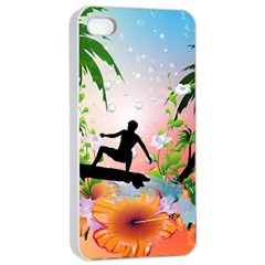 Tropical Design With Surfboarder Apple iPhone 4/4s Seamless Case (White)