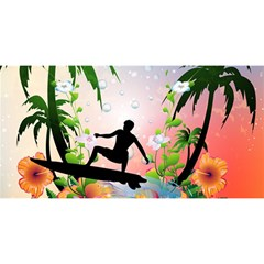 Tropical Design With Surfboarder You Are Invited 3d Greeting Card (8x4)